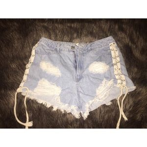 Forever21 lace up jean shorts